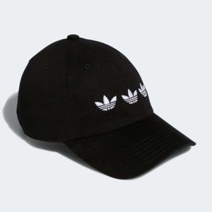 adidas Accessories - ADIDAS TRIPLE TREFOIL STRAP-BACK RELAXED BLACK HAT